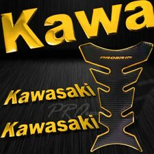 "Chrome Gold Pro Fuel Tank Pad+8"" Kawasaki Logo Fender Fairing Emblem Sticker Kit"