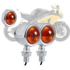 2Pcs Motorcycle Motorbike Mini Bullet Chrome Turn Signal Indicator Light Amber