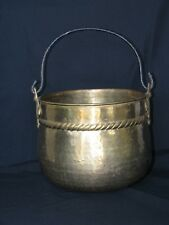 Large Vintage Hammered Brass Planter Pot Bucket with Iron Handle