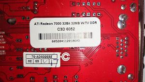 ATI Radeon 7000 32 bit 32MB W/TV DDR Grafikkarte C3D 6052