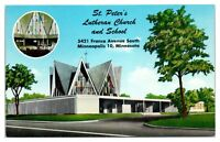 1950s/60s St. Peter's Lutheran Church and School, Minneapolis, MN Postcard