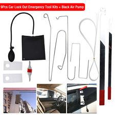 9Pcs Car Door Key Lock Out Emergency Opening Unlock Tools Kit + Air Pump + Wedge
