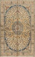 Vintage Nain Floral Area Rug Hand-Knotted Traditional Oriental Wool 4x6 Carpet