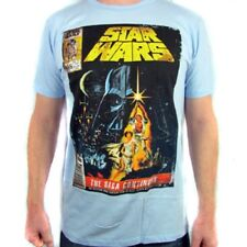 Star Wars Movie Poster The Saga Continues Men's T-Shirt - Light Blue - XL