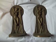 Antique- Nude Lady Art Deco Statue Sculpture Bronze Bookends