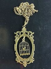 Retro style Metal Cage Cute bird cage birdcage Pendant necklace statement