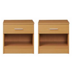 Rio Costa Beech 2x Bedside Table Cabinet Bedroom Nightstand 1 Drawer