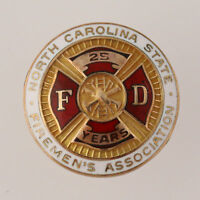 North Carolina State Firemen's Association Pin - 10K Yellow Gold Enamel Member