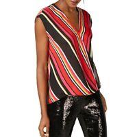 INC NEW Women's Surplice Mix Match Stripes Blouse Shirt Top TEDO