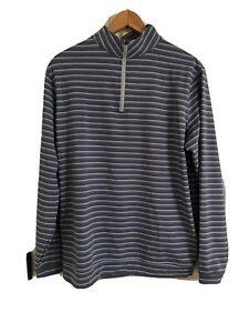 PETER MILLAR Crown Sport men 1/4 zip light grey blue stripe pullover L
