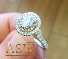 14K SOLID WHITE AND ROSE GOLD ROUND CUT SIMULATED DIAMOND ENGAGEMENT RING 1.65CT