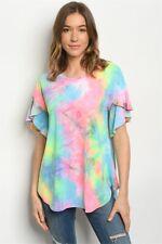 New USA Boho Hippie Tie Dye Colorful Western Ruffle SleeveTunic S