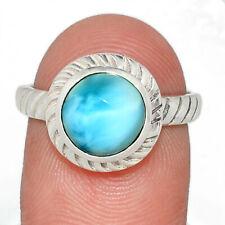 Genuine Larimar - Dominican Republic 925 Silver Ring s.8.5 AR94834 174B