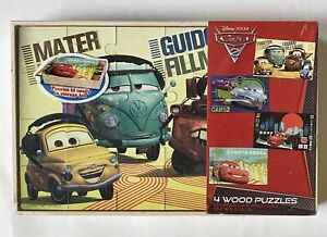 NEW Disney Pixar CARS 4 Wood Puzzles With Storage Tray. (24 Pieces Each) Sealed