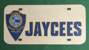 United States Jaycees Affiliate Organization Member Plastic License Plate