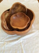 Vintage Wooden Salad Bowl Set 5 Piece, One Large And Four Small Bowls.