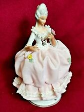Antique Dresden porcelain figurine Lady Marie Antoinette dressed and hair