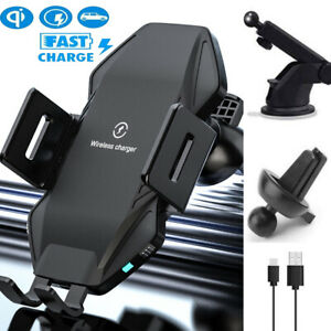 Qi Fast Wireless Charger Car Mount iPhone Holder Automatic Clamping Smart Sensor