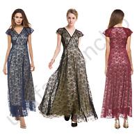 Women's Vintage Floral Lace V Neck Formal Wedding Evening Party Retro Gala Dress
