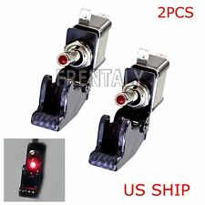 2X C1 Red LED Light Carbon Cover 12V 20A Rocker Toggle Switch SPST ON/OFF Car