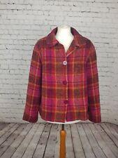 BLARNEY WOOLLEN MILLS  IRISH Womens Woven Blazer Coat Check Casual sz L 16 18
