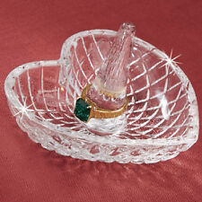 Crystal Heart Ring Holder With Extra Deep Bowl New In Box ! Big Sale