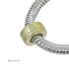 1x 18kt Gold Over Sterling Silver Rubber European Bracelet Stopper Bead #51757