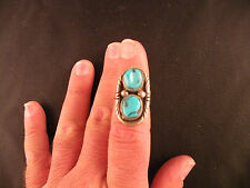 Turquoise stones Sterling ring, rustic Vintage Navajo, Native American 2