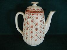 "Spode Fleur de Lys Red Y7481 Large 8 3/8"" Coffee Pot with Lid"