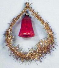 Antique Christmas Ornament Red Glass Bell Silver Tinsel Teardrop Nice #23