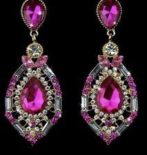 Earring Boho Festival Party Boutique Uk Gold Pink Luxury Fancy Long Drop Fashion