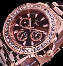 Gooix Multifunktion Damen Uhr Armbanduhr Braun Rosegold Farben Edelstahl Strass