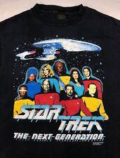 Vintage Mens XL 1991 90s Star Trek Next Generation Enterprise Crew Black T-Shirt