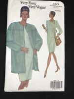 Vintage Very Easy Vogue Sewing Pattern 8422 Sz 14 16 18 Long Sleeve Dress Jacket
