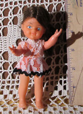 "BLUE BOX Vintage Girl Doll 5"" Tall HONG KONG Wearing Dress & Underwear -BlueEyes"