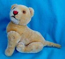 """1950's 5.5"""" Tall Very Rare Steiff Lion Cub Fully Jointed Excellent Condition"""