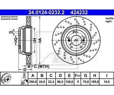 Ate 24.0124-0232.2 disco de freno bmw 3er Coupe 3er 1er Coupe 3er Cabriolet