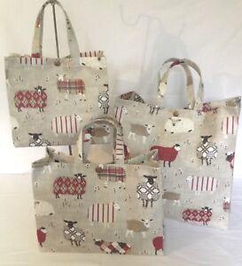 Nikki's Original Tote Bags 100% Cotton Oilcloth Baa Baa Sheep Berry Gloss