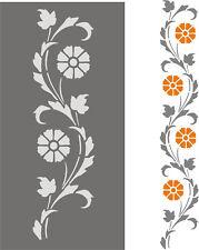 Stupfschablone Wandschablone Ranke Raumdekoration Schablone Blütenranke vertikal