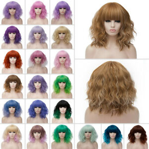 Heat Resistant Wig Anime Short Curly Wavy Synthetic Hair Cosplay Party UK
