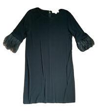 Vestido Negro con Michael Kors Manga Corta Bordes con plumas de avestruz-M
