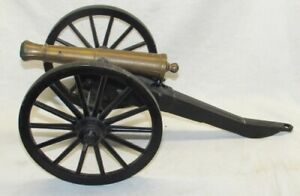 Large Vintage Cast Iron and Brass Civil War Military Toy Cannon C