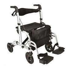 Hybrid 2 in 1 rollator walker  / transport wheelchair with footrests