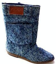 Narrow Big Girls' Women Mid-Calf Autumn-Winter Denim Fabric Ankle Boots MULTI