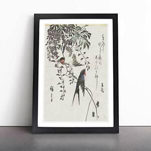 Two Swallow Birds Flowers Asian Utagawa Hiroshige Framed Picture Print Wall Art