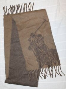 """Polo Ralph Lauren Mens Brown Polo Pony Wool Italy Scarf NWT $58 Size 10"""" x 70"""""""