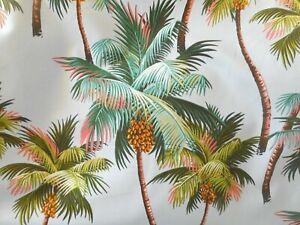 PAIR 96 x 52 Tropical Barkcloth 100% Cotton Fabric Drapes ~Palm Trees-Gray~