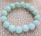 Natural Grade A Jade (Jadeite) 13mm Bean-Green Round Beads Blessing Bracelet
