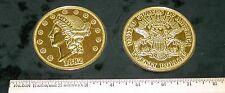 "REPLICA 1882 $20 Liberty Head Gold Piece BIG 3"" COIN REPLICA paperweight, etc."