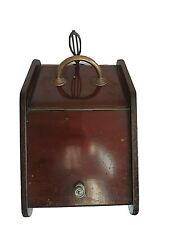 ANTIQUE MAHOGANY & BRASS COAL SCUTTLE WITH ORIGINAL SHOVEL AND LINER